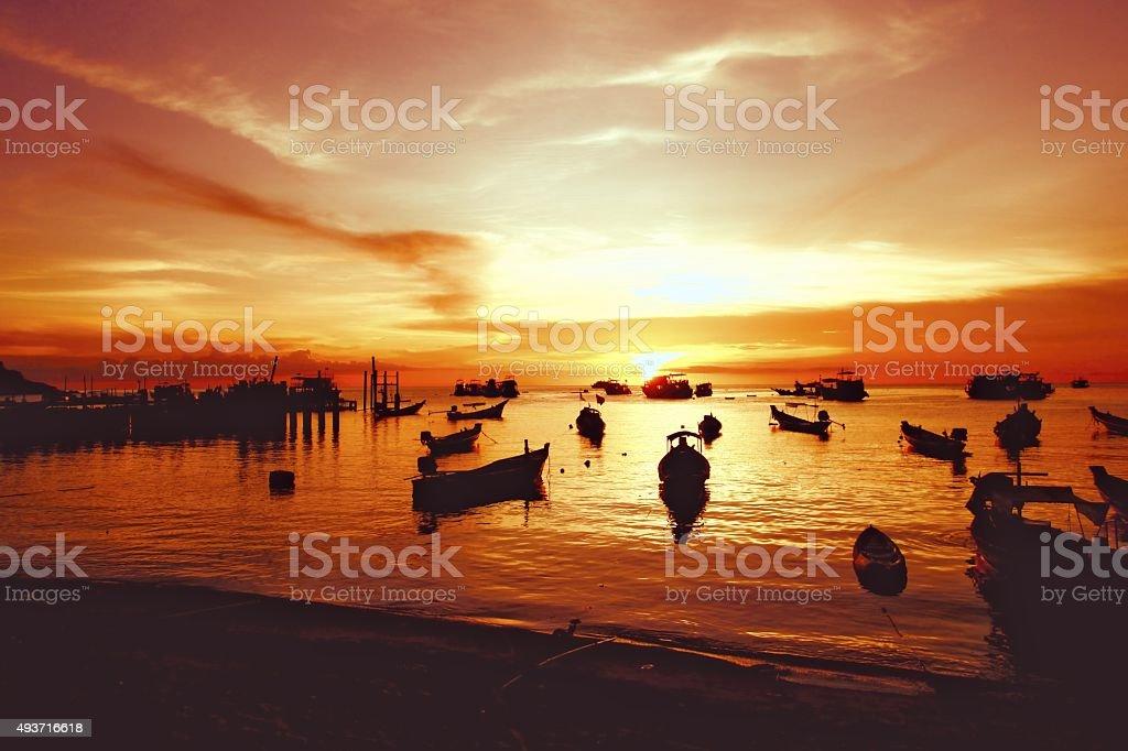 Sun down at Soiree Beach Koh Tao Thailand stock photo