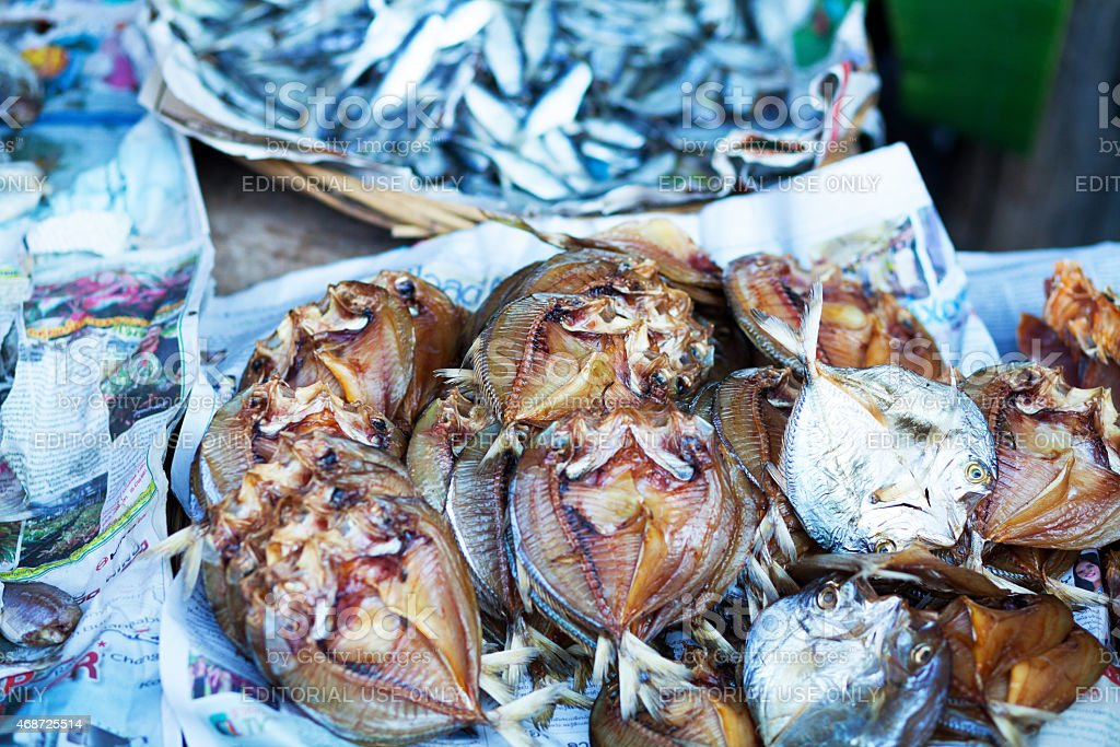 Sun dried thai fish on local market stock photo