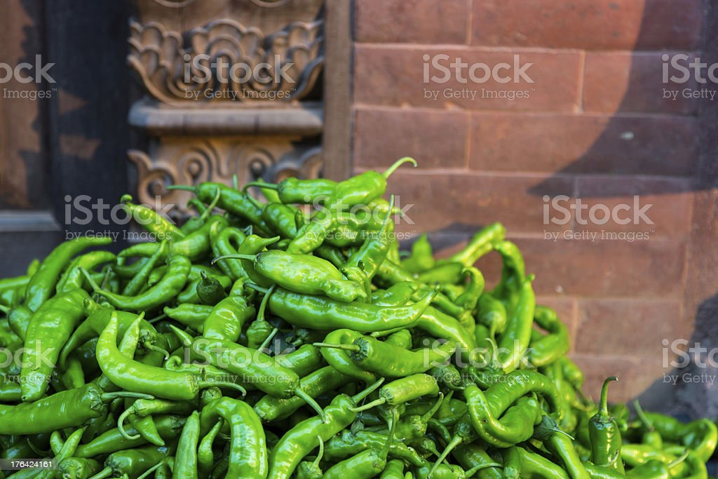 Sun Drying Green Peper royalty-free stock photo