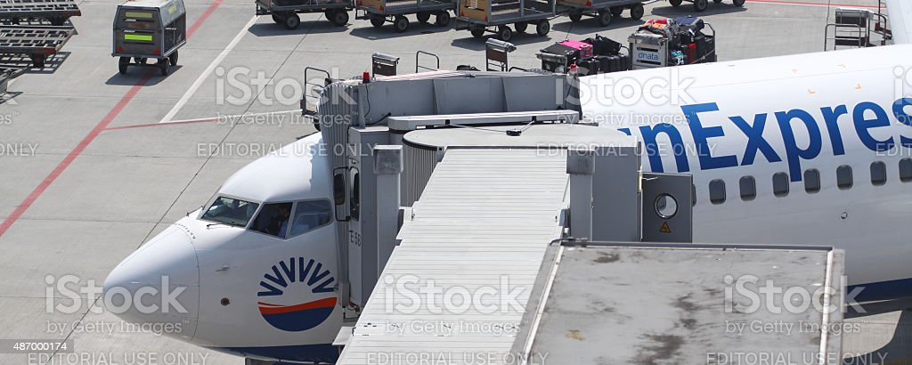 sun express Boarding in Zurich Airport stock photo