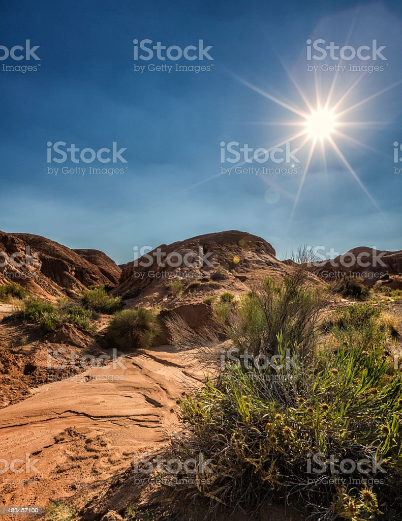 Sun Flare Goblin Valley State Park Utah USA stock photo
