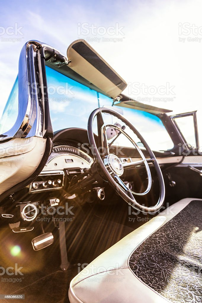 Sun Flare Interior of Classic Fifties Collector Car stock photo