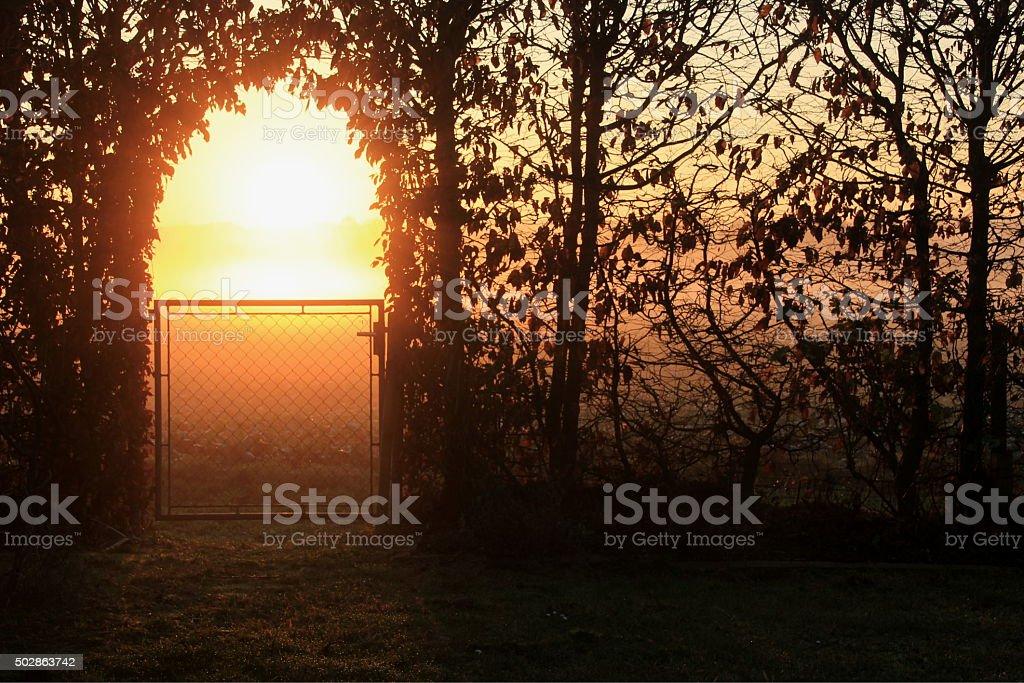 Sun gate stock photo