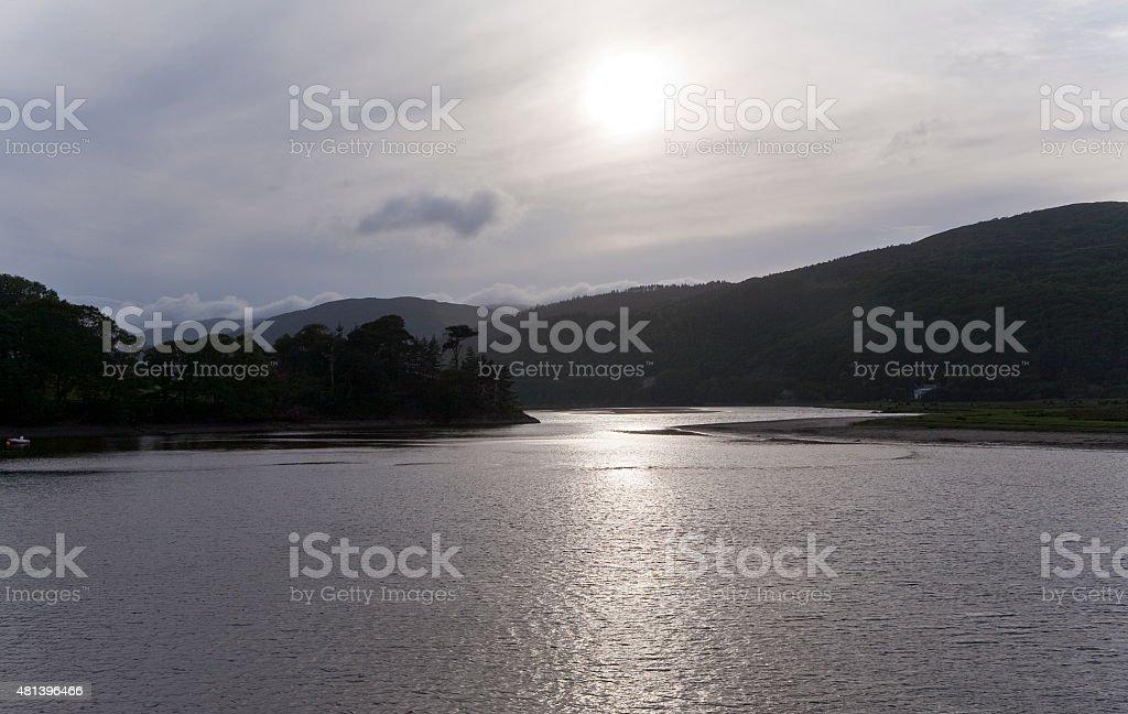 Sun Glare Across the River stock photo