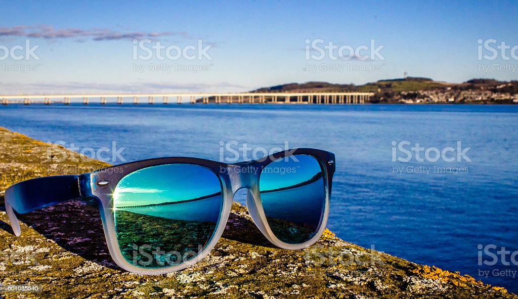 Sun glasses by the River Tay stock photo