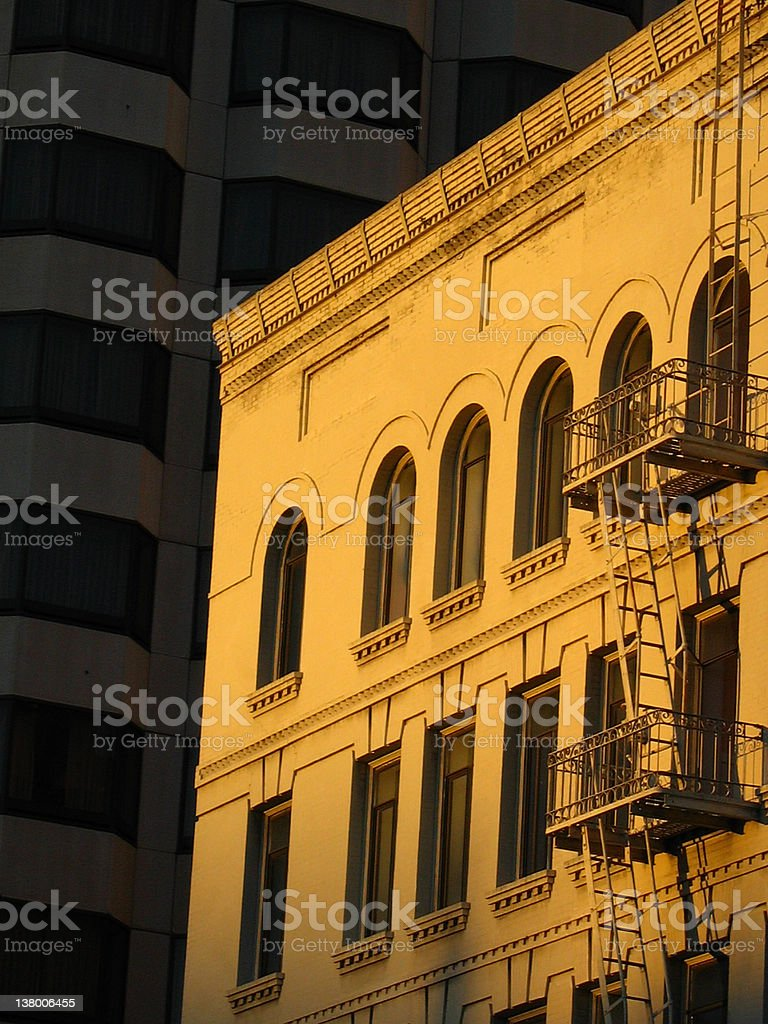 Sun glowing on San Francisco building royalty-free stock photo