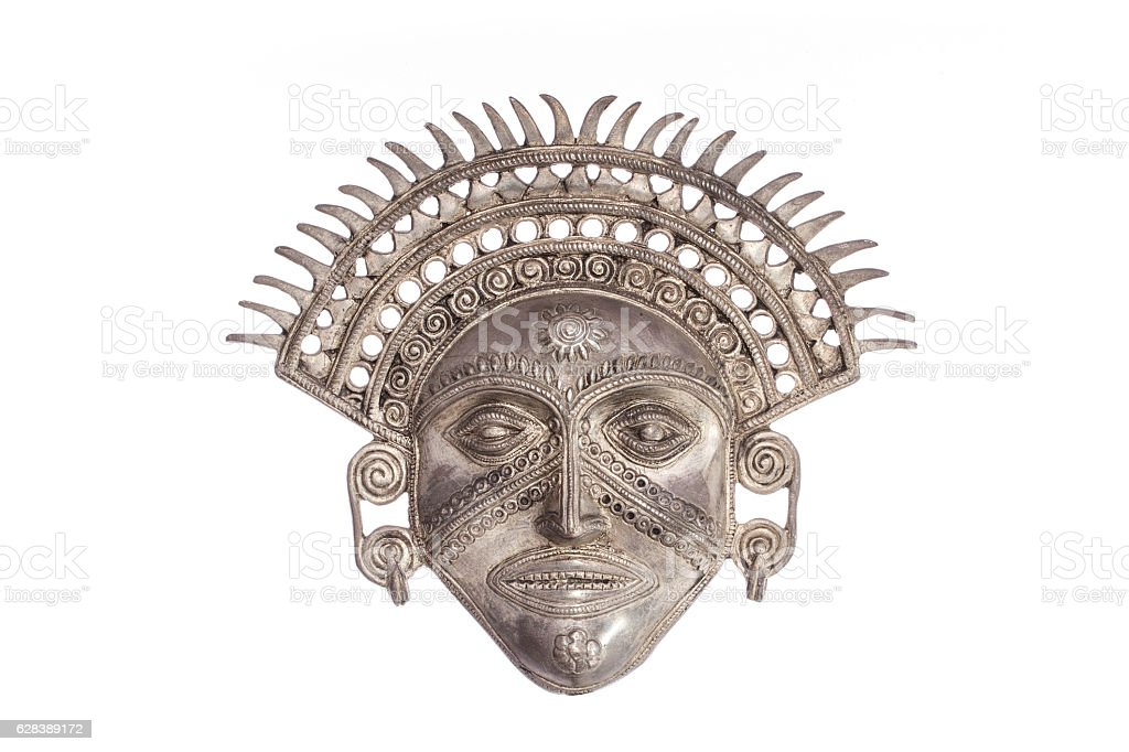 Sun God mask isolated against white background stock photo