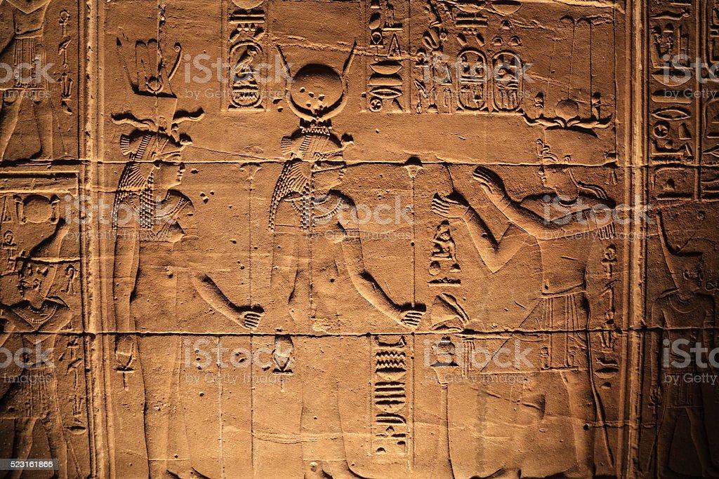 sun god to pharaoh patterns of the coronation, Egypt karnak stock photo