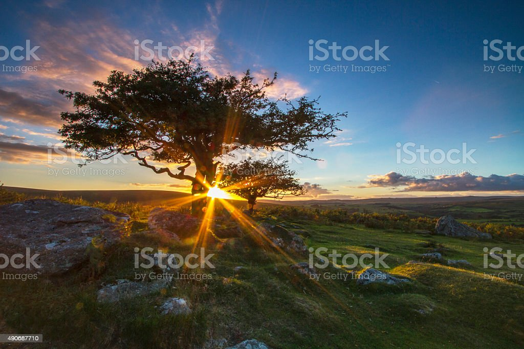 Sun going down over the moor stock photo