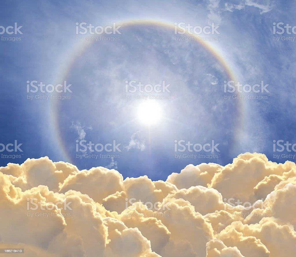 sun halo and cloudscape stock photo