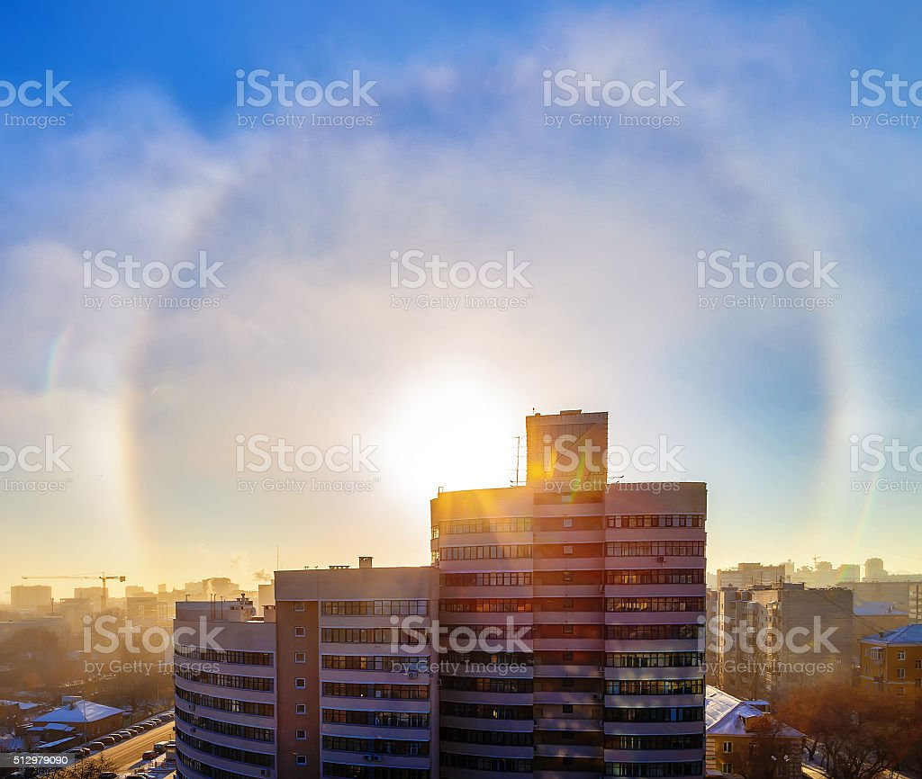 Sun halo effect in the city of Winter stock photo