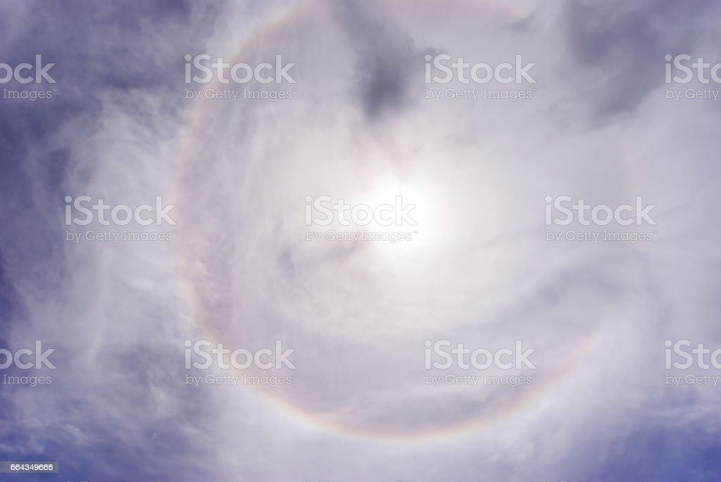 Sun halo phenomenon stock photo