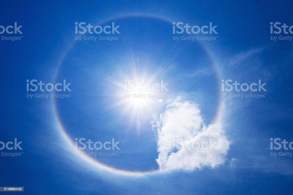 Sun halo with cloud in the sky stock photo