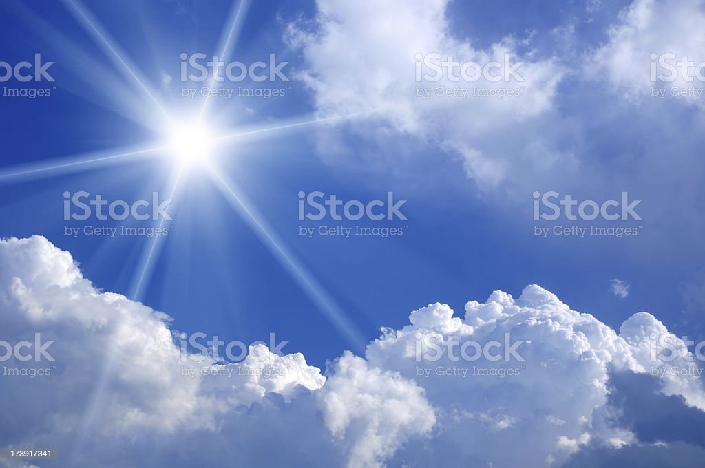 Sun in a blue sky royalty-free stock photo