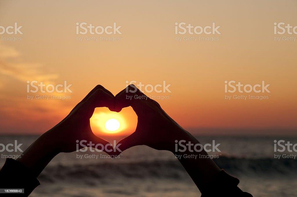 Sun in heart stock photo