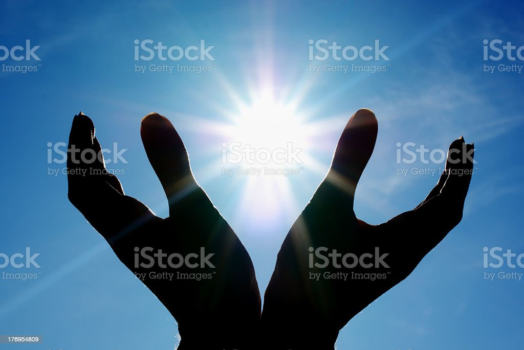 Sun in palm royalty-free stock photo