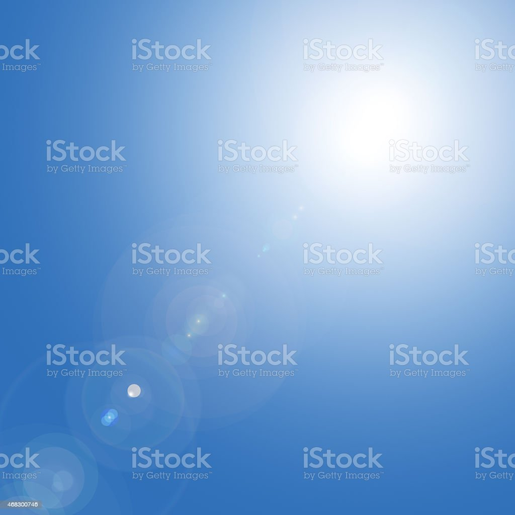 Sun in the blue sky stock photo