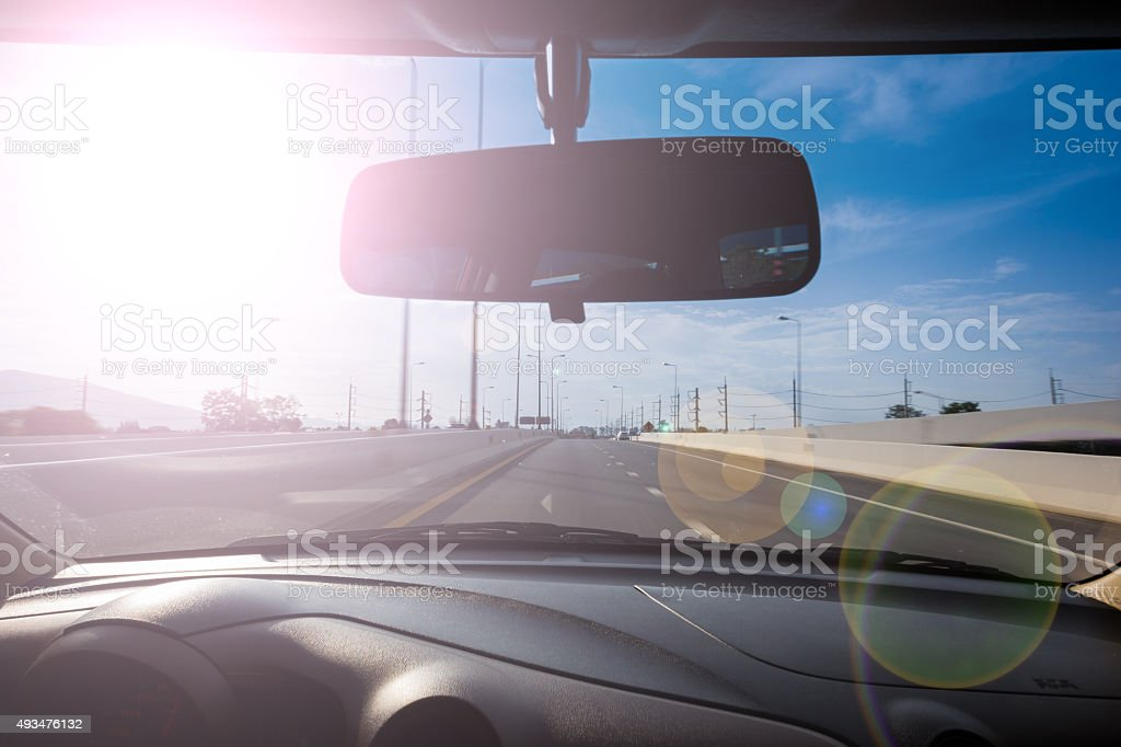 Sun interfere with driving . stock photo
