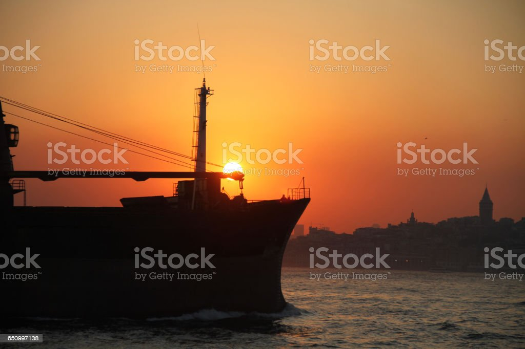 Sun is going down in Istanbul stock photo
