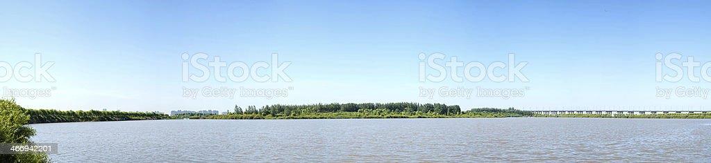 Sun Island west beach wetland park stock photo