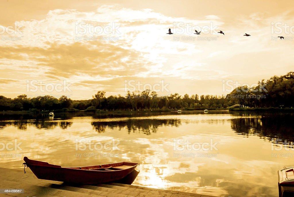Sun Lake at dusk stock photo