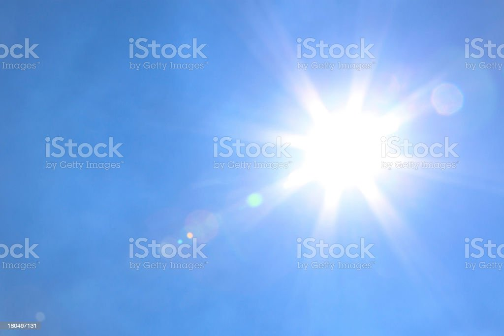 Sun light with blue sky stock photo