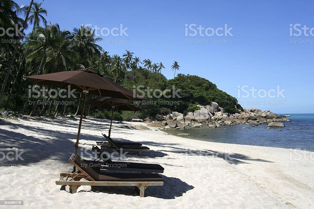sun loungers koh samui beach royalty-free stock photo