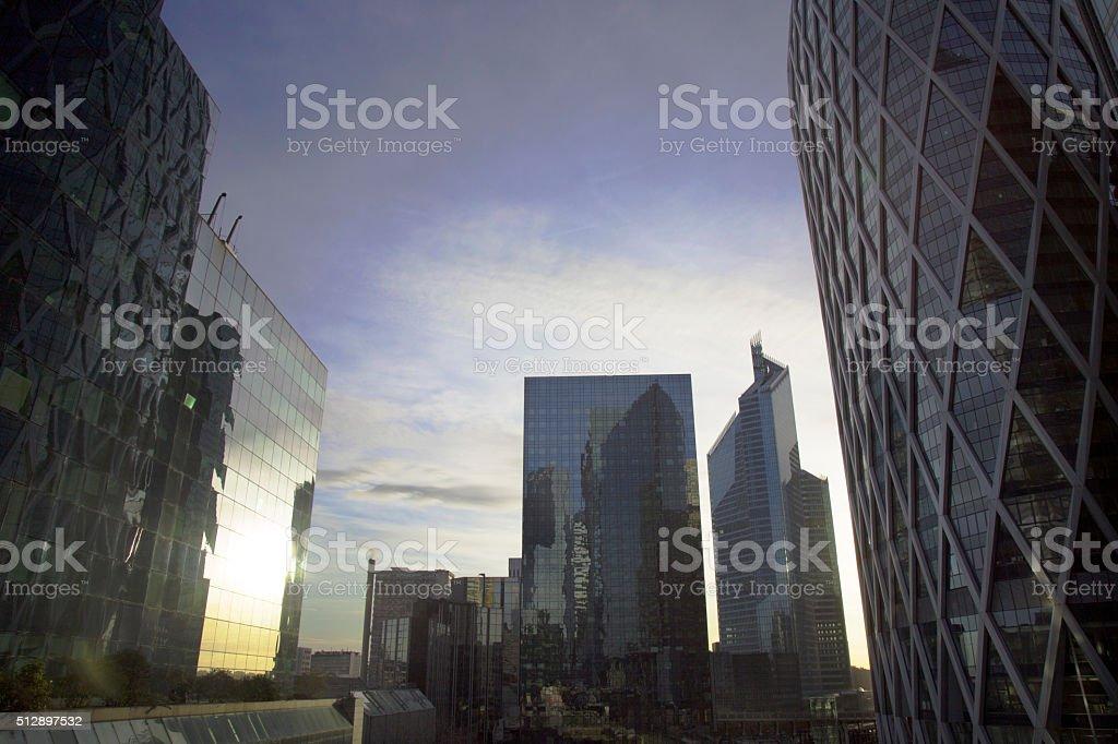 Sun mirror - Financial District stock photo