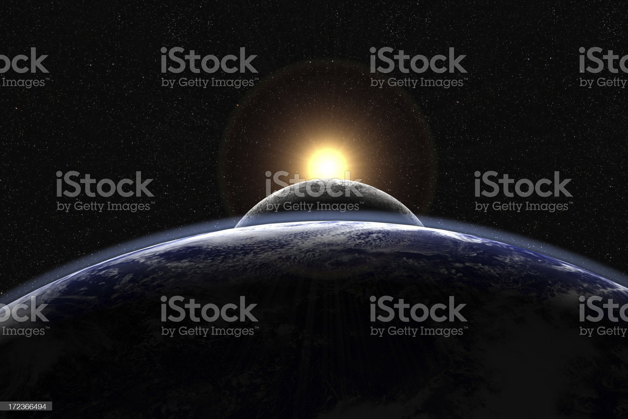 Sun, moon and Earth aligned (with visible starfield) royalty-free stock photo