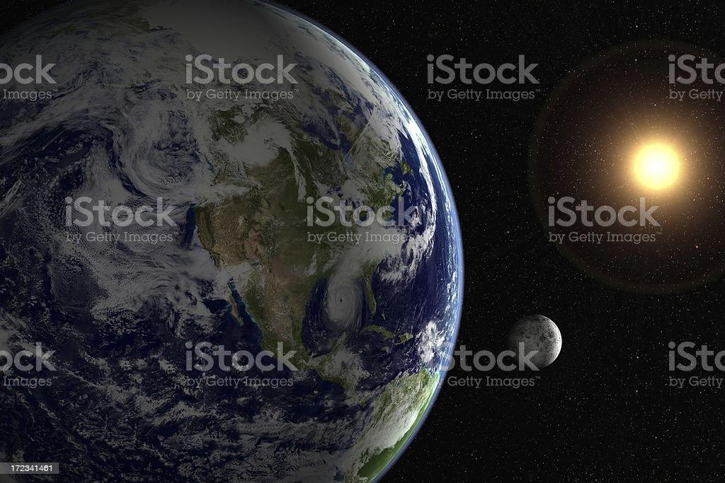 Sun, moon, earth and starfield stock photo