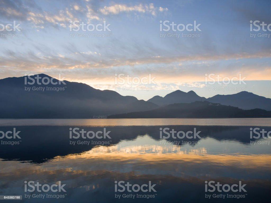 Sun moon lake with mountain and reflection of mountain, Taiwan stock photo