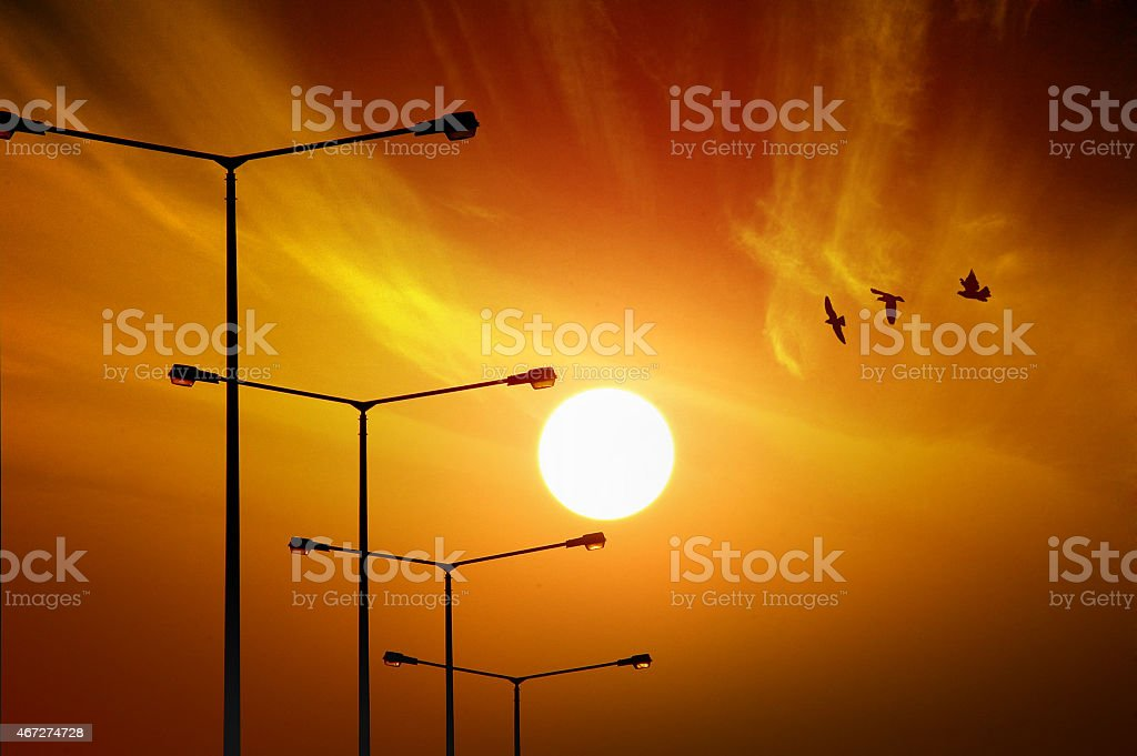 Sun of Urban stock photo
