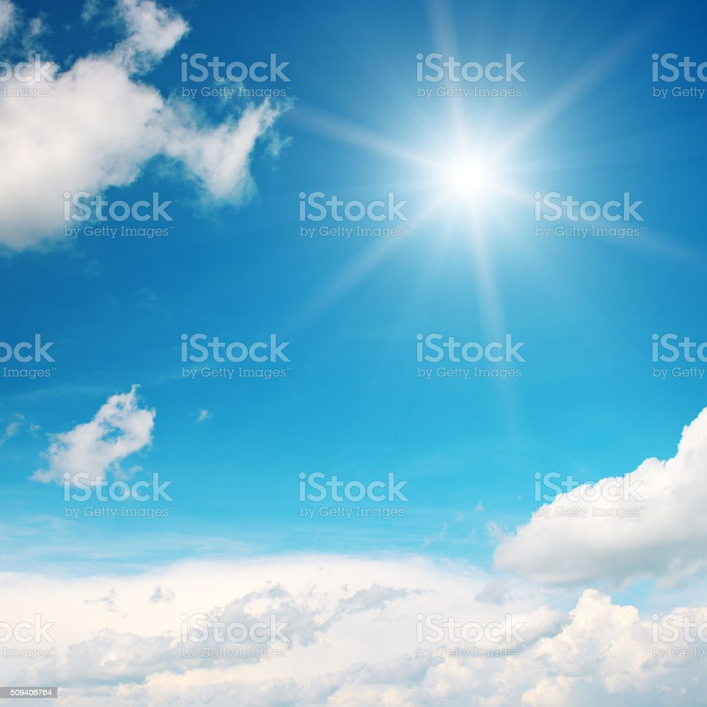 sun on beautiful blue sky stock photo