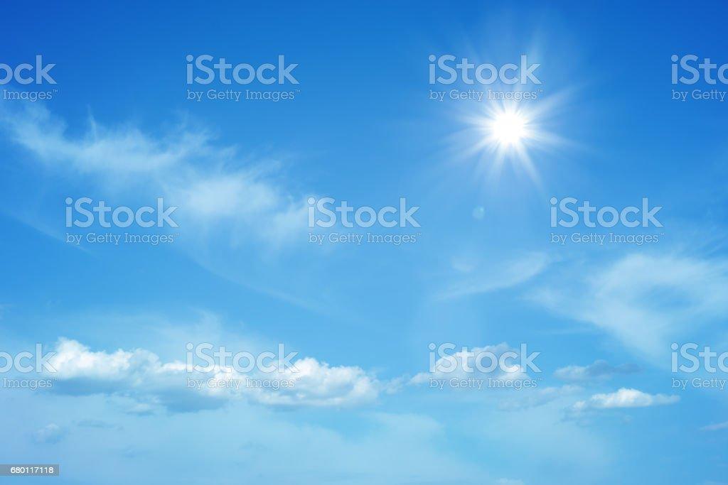 Sun on beautiful blue sky stock photo