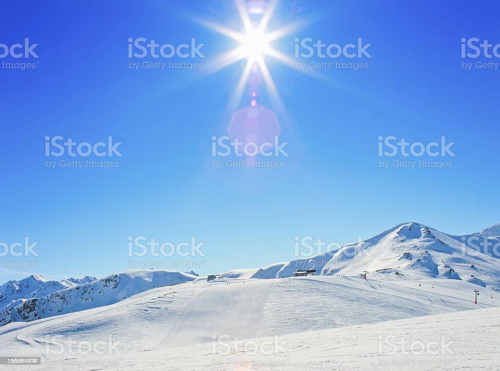 Sun over Italian Alps stock photo