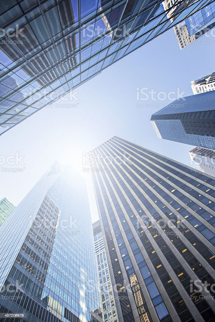 Sun over skycrappers royalty-free stock photo