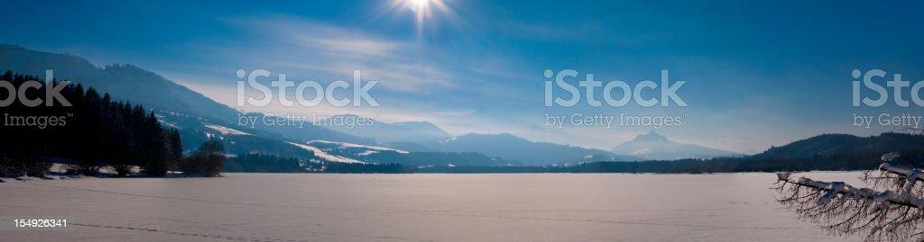 Sun over the horizont - XXL Landscape Panorama stock photo