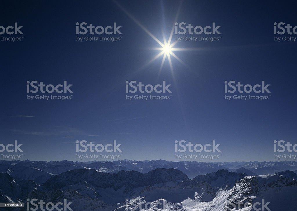 Sun over the mountain alps (image size XXL) stock photo