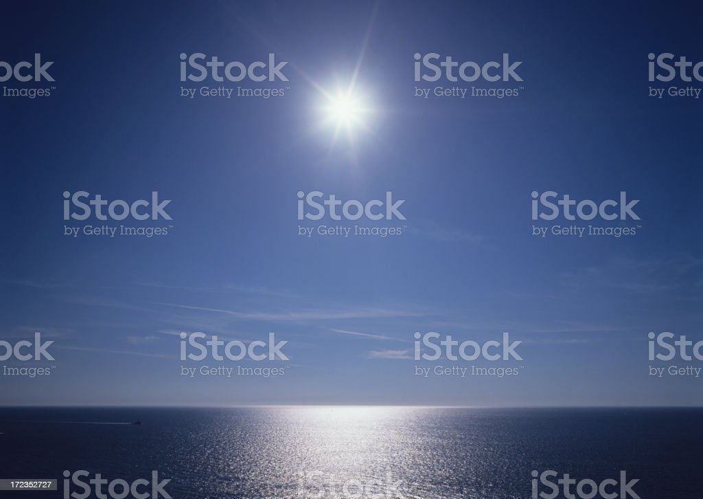 Sun over the sea in late morning or early evening royalty-free stock photo