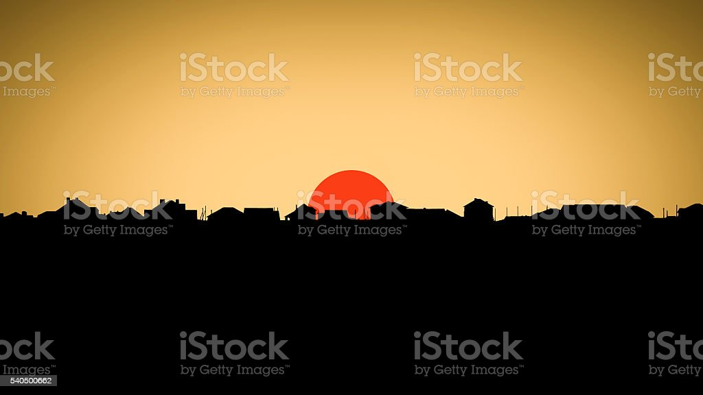 Sun over the suburbian roofs stock photo