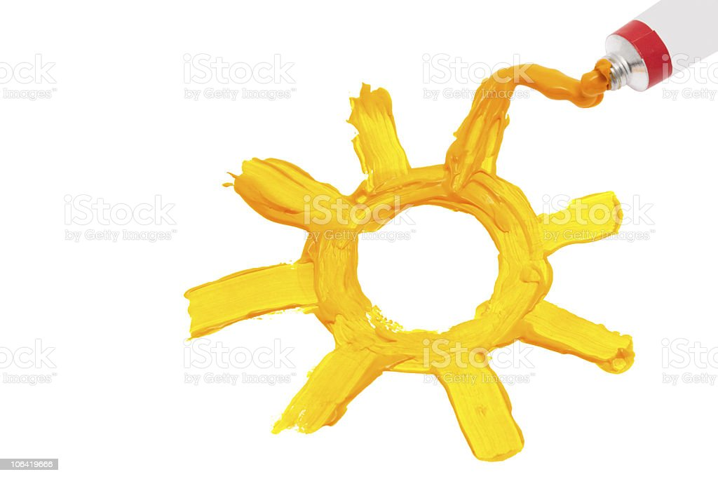Sun painted with oil paint stock photo