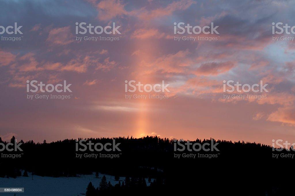 Sun Pillar over Bobcat Pass stock photo