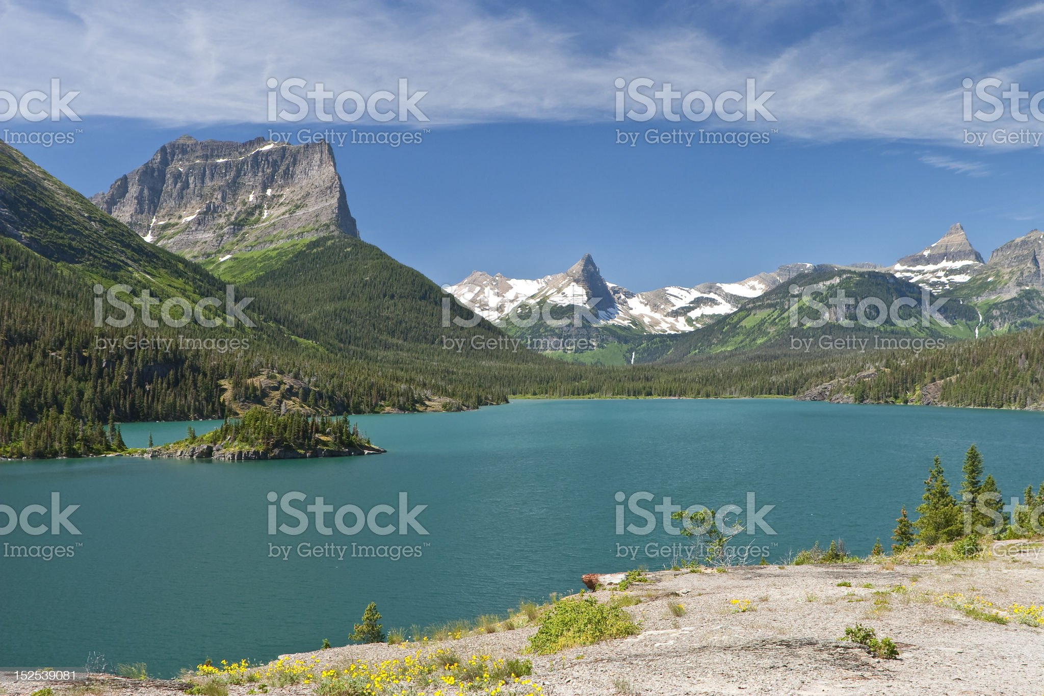 Sun Point on St, Mary Lake royalty-free stock photo