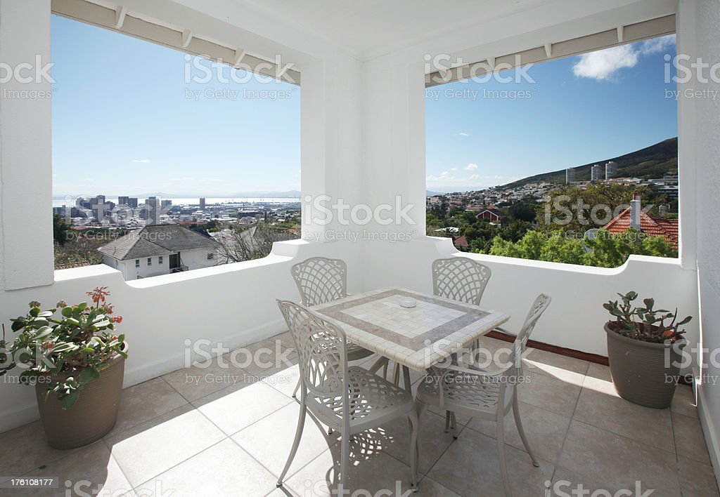 Sun Porch With View Of Cityscape royalty-free stock photo