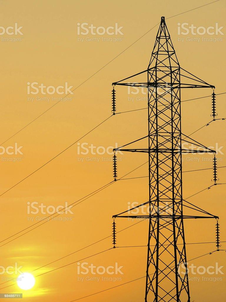 Sun & power pylon royalty-free stock photo
