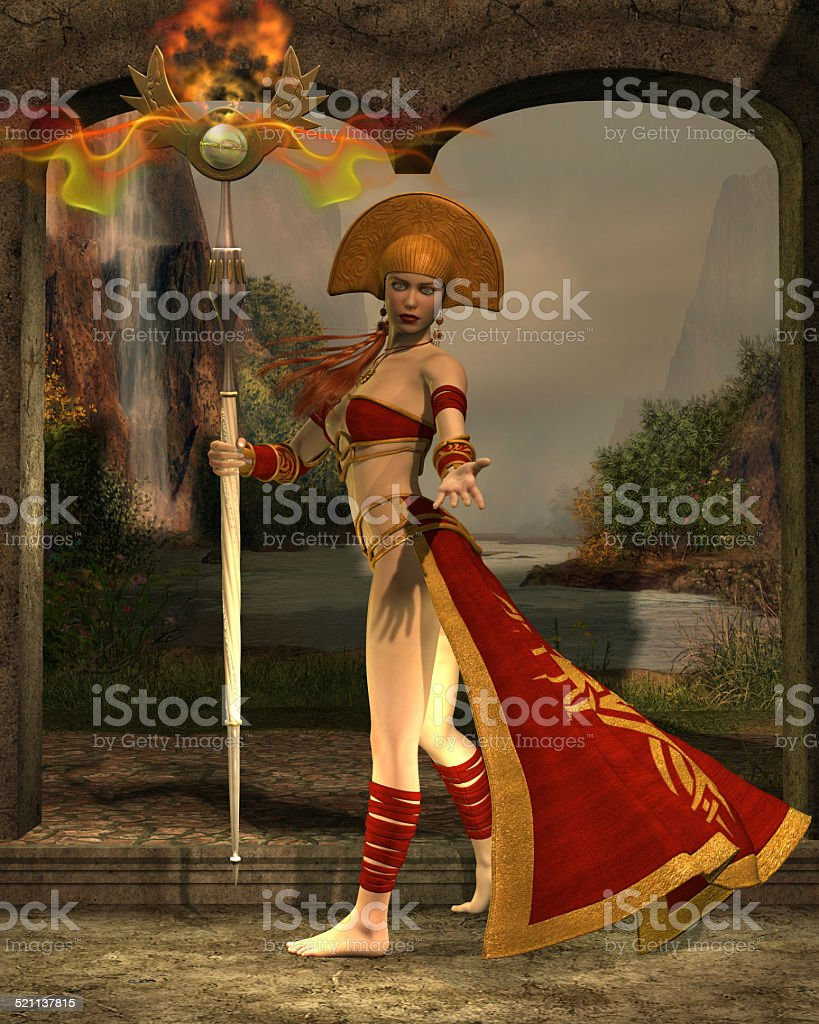 Sun Priestess stock photo