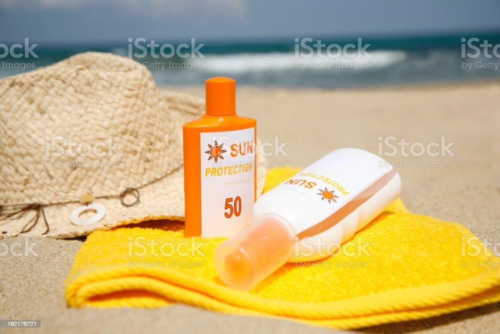 Sun Protection on a Beach stock photo