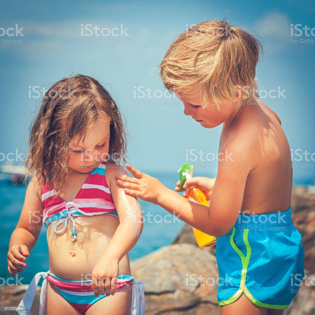 Sun protection on the beach stock photo