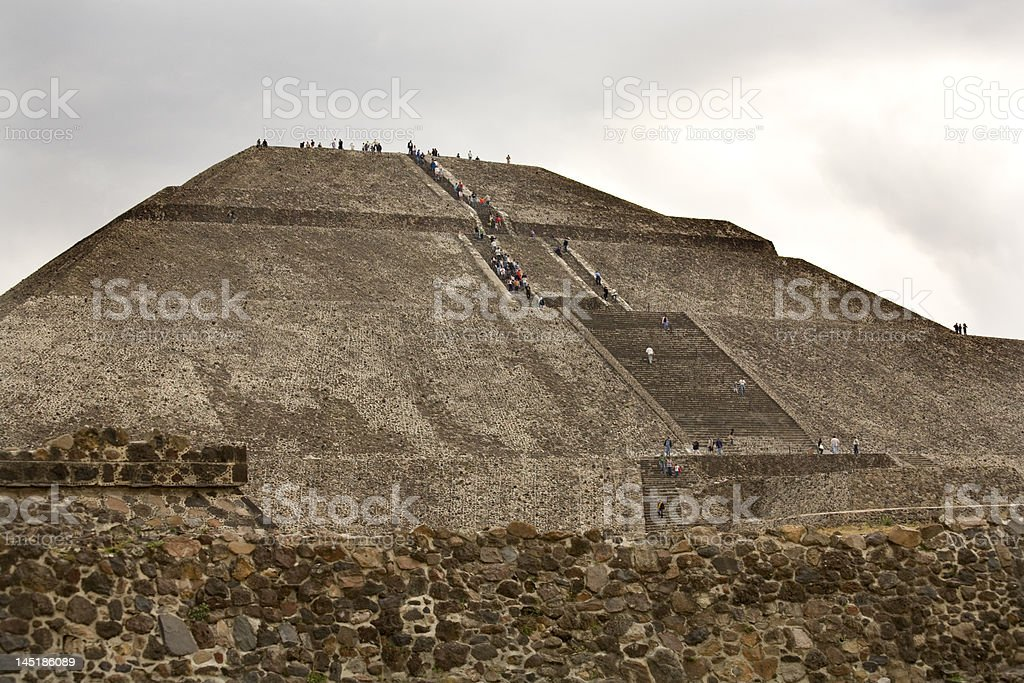 Sun Pyramid Teotihuacan Mexico Indian Ruins stock photo