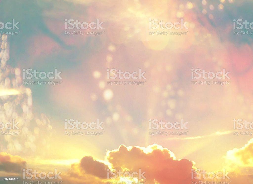 Sun Rays and Bokeh Sky stock photo